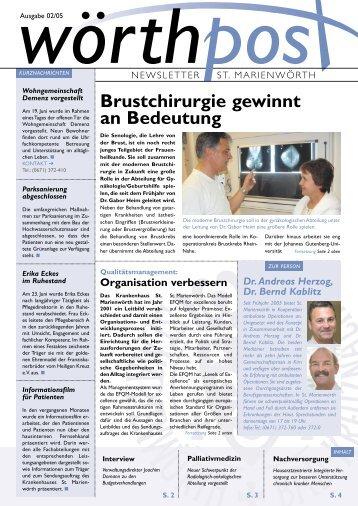 Brustchirurgie gewinnt an Bedeutung - Krankenhaus St. Marienwörth