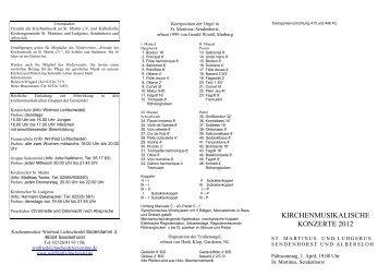 kirchenmusikalische konzerte 2012 - Pfarrgemeinde St. Martin