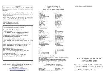 Programmübersicht 2013 - Pfarrgemeinde St. Martin