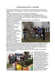 72 Stunden Aktion der KJG 7.-10. Mai 2009 Donnerstag, 7. Mai ...
