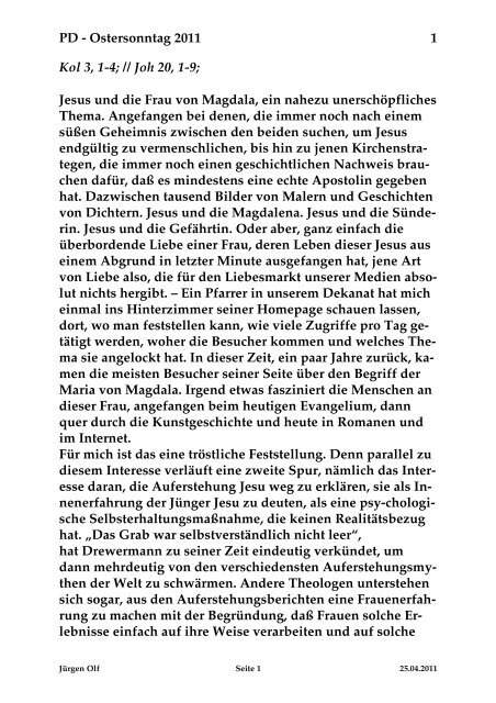 Sonntag, 24. April 2011 - St. Michael Weingarten