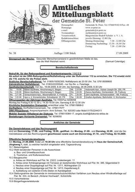 Nr. 38 Auflage 1100 Stück 17.09.2009 - St. Peter