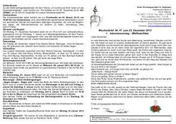 S Wochenbrief Nr. 47 zum 23. Dezember 2012 4 ... - St. Stephanus