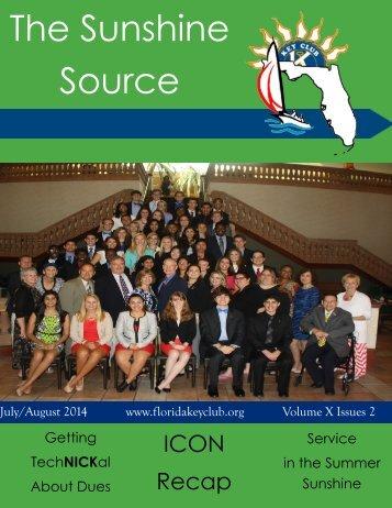 Florida Key Club's Sunshine Source Vol X No 2 Jul-Aug 2014