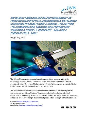 JSB Market Research: Silicon Photonics Market