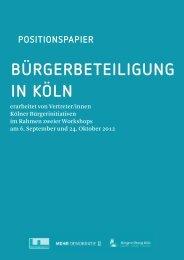 Positionspapier - Kölner Freiwilligen Agentur