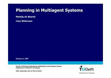 Planning in Multiagent Systems - Software and Computer Technology