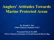 Saltwater anglers' attitudes towards Marine Protected Areas - NOAA