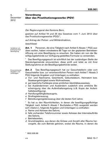 Verordnung über das Prostitutionsgewerbe (PGV)