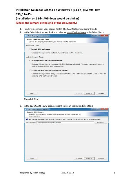 Installation Guide for SAS 9 3 on Windows 7 (64-bit) (TS1M0