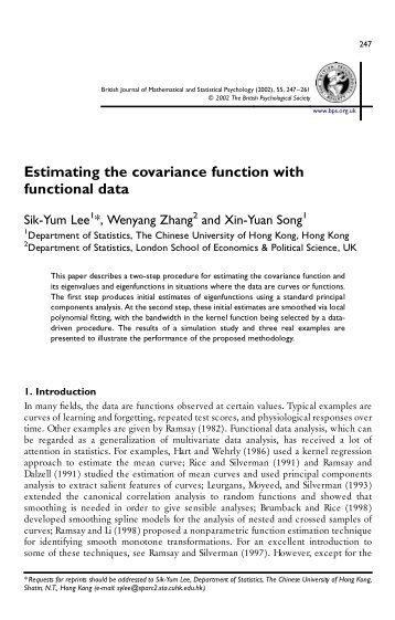 Estimating the covariance function with functional data - Statistics ...