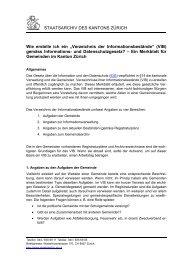 Verzeichnis der Informationsbestände - Staatsarchiv - Kanton Zürich