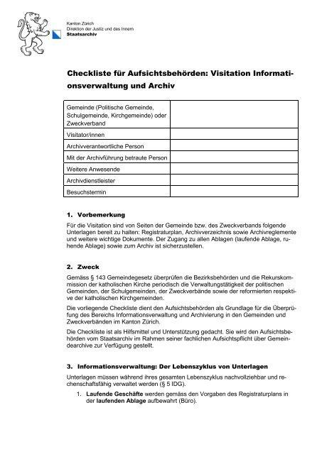 Checkliste für Visitationen - Staatsarchiv - Kanton Zürich