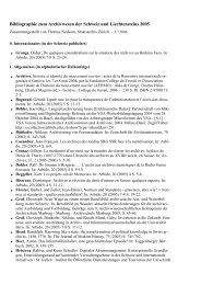 Bibliographie zum Archivwesen der Schweiz und ... - Staatsarchiv