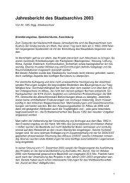 Jahresbericht des Staatsarchivs 2003 - Staatsarchiv - Kanton Zürich