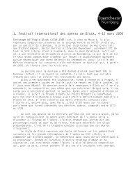 1. festival international des opéras de Gluck, 4-12 mars 2005