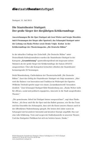 Pressemitteilung der Staatstheater Stuttgart - Die Staatstheater ...
