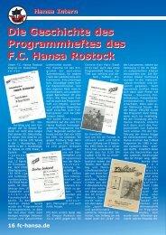 Die Geschichte des Programmheftes des FC Hansa ... - Stadionheft.de