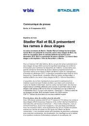 Stadler Rail et BLS présentent les rames à deux étages