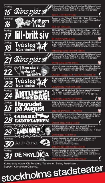 155:- för teater och sopplunch. Tisdag – lördag kl 12 - Stockholms ...