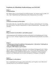 Ergebnisse der Stadtratssitzungen im Jahr 2013 - Stadt Bad ...