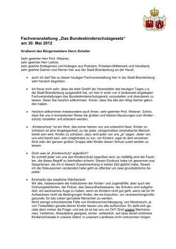 Grußwort des Bürgermeisters Herrn Scheller - Brandenburg an der ...