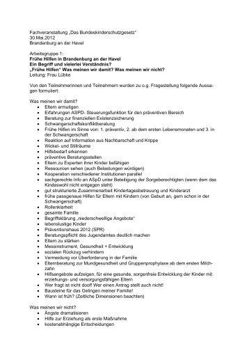 Ergebnisse Arbeitsgruppe 1 - Brandenburg an der Havel