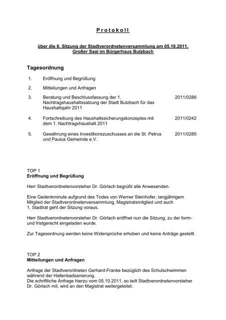 Protokoll Tagesordnung - Stadt Butzbach