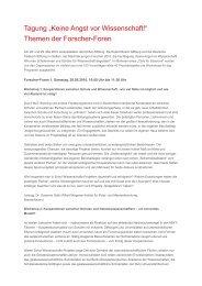 Workshops und Praxisbeispiele der Forscher-Foren - Stadt der ...