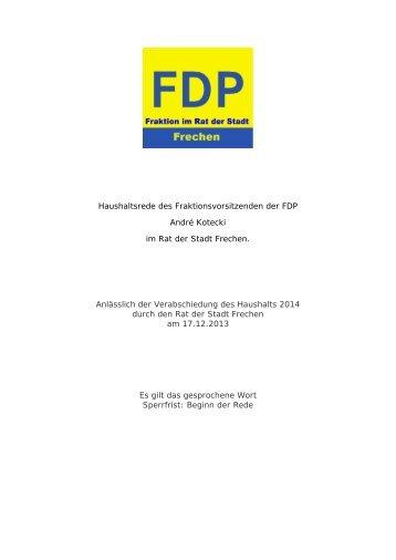 Rede von André Kotecki, Vorsitzender der FDP ... - Stadt Frechen