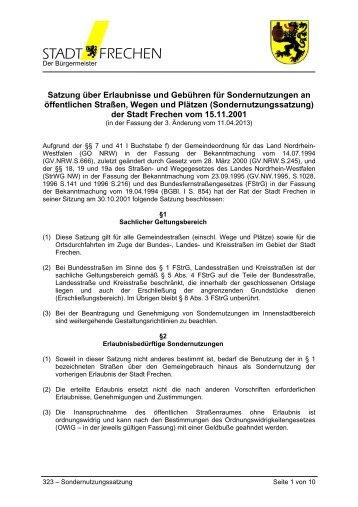 Satzung über Erlaubnisse und Gebühren für ... - Stadt Frechen