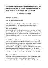 Abendessen zu Ehren des Cologne Fine Art ... - Stadt Köln