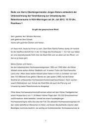 Unterzeichnung der Vereinbarung zur Umsetzung des ... - Stadt Köln