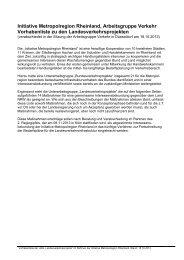 Vorhabenliste zu den Landesverkehrsprojekten - Stadt Köln