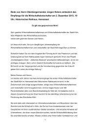 Empfang für die Wirtschaftsbotschafter, 2. Dezember 2013 - Stadt Köln