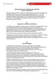 Betriebssatzung für die Bühnen der Stadt Köln vom 27. August 2013