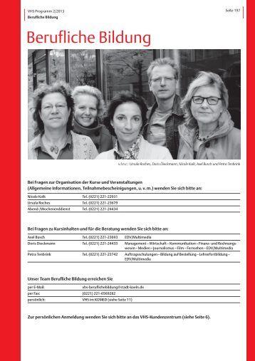 VHS-Programm 2-2013: Berufliche Bildung - Stadt Köln