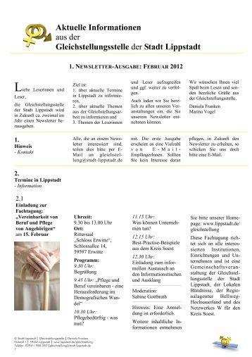 1. Newsletter der Gleichstellungsstelle, Februar 2012 - Lippstadt
