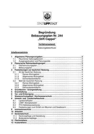 "Begründung Bebauungsplan Nr. 244 ""Stift Cappel"" - Lippstadt"