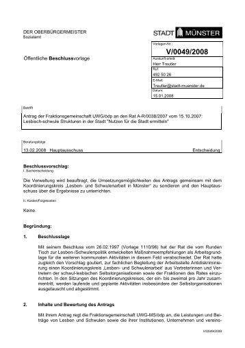 Beschlussvorlage - Vorlage V/0049/2008