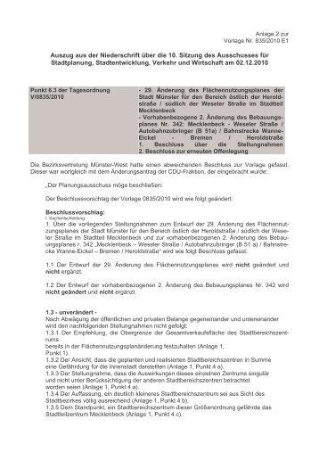 Auszug aus der Niederschrift über die 10. Sitzung des Ausschusses ...