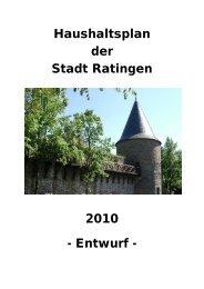 Haushaltsplanentwurf 2010 - Stadt Ratingen