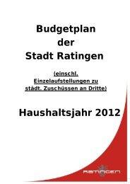 Budgetplan der Stadt Ratingen Haushaltsjahr 2012