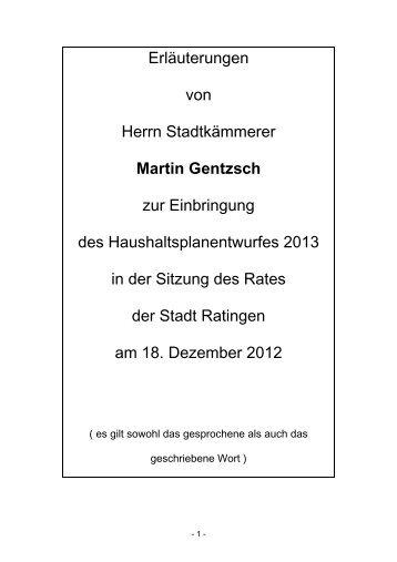 Erläuterungen des Stadtkämmerers Martin Gentzsch - Stadt Ratingen
