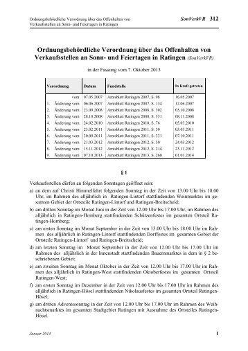 Ordnungsbehördliche Verordnung über das ... - Stadt Ratingen