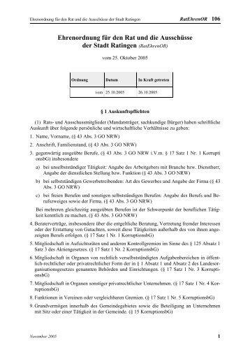 Ehrenordnung für den Rat und die Ausschüsse der Stadt Ratingen