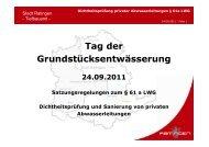 Vortrag zum Tag der Grundstücksentwässerung - Stadt Ratingen