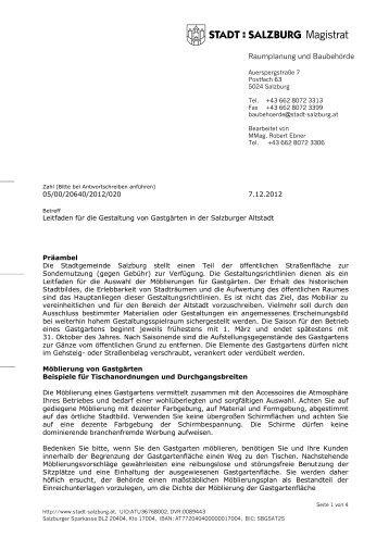 Leitfaden zur Gestaltung von Gastgärten in der ... - Stadt Salzburg