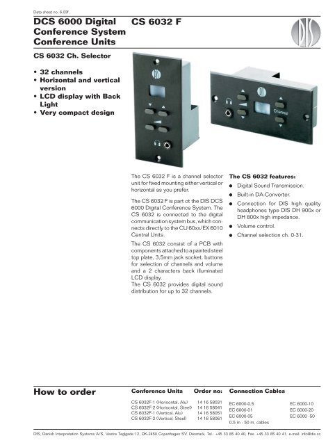CS 6032 F How to order DCS 6000 Digital Conference     - AVC