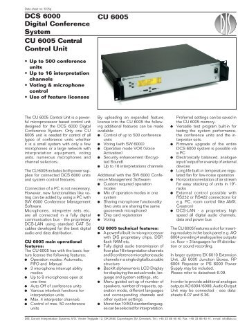 DCS 6000 Digital Conference System CU 6005 Central ... - AVC
